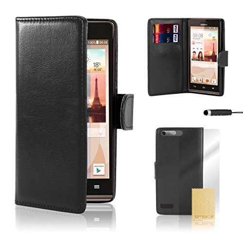 32nd® Book wallet PU leather case cover for Huawei Ascend G7, including screen protector, cleaning cloth and touch stylus - Black