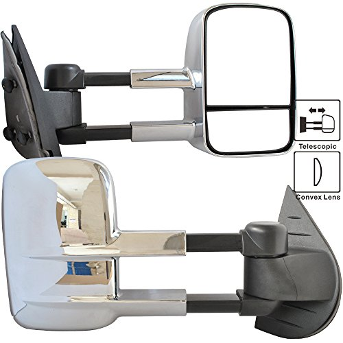 Suburban Chrome Manual Mirror (Towing Mirror Fits 2007-2014 Chevy Silverado | Side View Tow Mirrors Manual Non-Heated Chrome Pair by IKON MOTORSPORTS | 2008 2009 2010 2011 2012 2013)