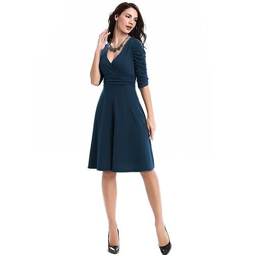 Aamikast Women's V-neck 3/4 Ruched Sleeved Casual Elegant Cocktail Dresses