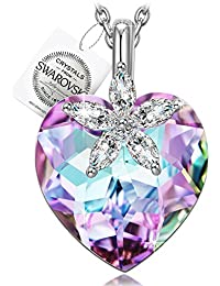 """♥Gifts for Women♥ NINASUN """"Bauhinia Blossom"""" 925 Sterling Silver Heart Design Pendant Necklace Fine Jewelry for Women, Crystals from Swarovski"""