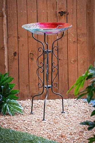 """[해외]상록 키 크고 검은 금속 스크롤 새 버드 스탠드 - 12.5 """"L x 12.5 W x 34 H/Evergreen Tall Black Metal Scroll Bird Bath Stand - 12.5\u201dL x 12.5 W x 34 H"""