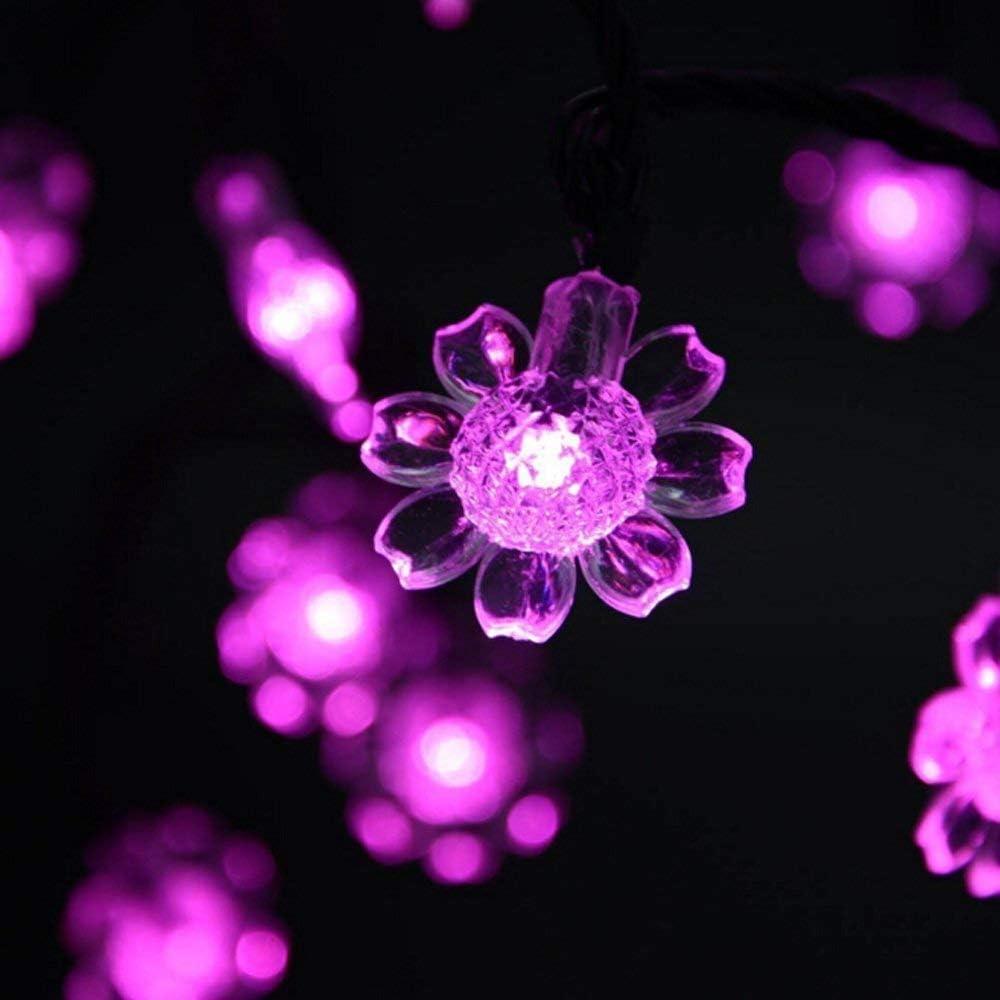 Luces de Cuerda de Girasol con energía Solar, 21 pies 50 Girasol LED Luz de Navidad Luces de Hadas solares Impermeables para Regalo de Ou Pink