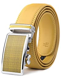 Xhtang Men's Ratchet Belt Automatic Buckle Genuine Leather belt 35mm Wide 1 3/8""