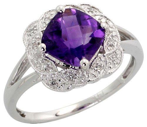 14K White Gold Fancy Ring, w/ 0.04 Carat Brilliant Cut Diamonds & 2.63 Carats 8mm Cushion Cut Amethyst Stone, 7/16 in. (11mm) wide, size (Fancy Cut Amethyst Ring)