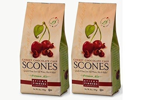 Cherry Scone Mix (Sticky Fingers Scone Mix (Pack of 2) 15 Ounce Bags - All Natural Scone Baking Mix (Cherry Chocolate Chip))