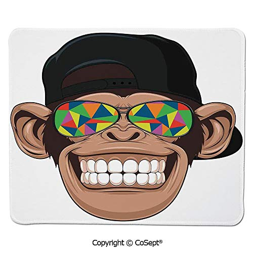 Gaming Mouse Pad,Fun Hipster Monkey with Colorful Sunglasses and Hat Rapper Hippie Ape Art Graphic,for Computer,Laptop,Home,Office & Travel(11.81