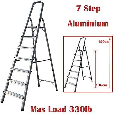 Escalera plegable multiusos de 7 peldaños de aluminio antideslizante, carga máxima de 150 kg: Amazon.es: Bricolaje y herramientas