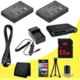 TWO Panasonic Lumix DMC-GX1 16 MP Micro 4/3 Compact System Camera DMW-BLD10 Lithium Ion Replacement Batteries w/External Rapid Charger + 8GB SDHC Memory Card + Mini HDMI Cable + Multi Card USB Reader + Memory Card Wallet + Deluxe Starter Kit DavisMAX Accessory GX1 Bundle