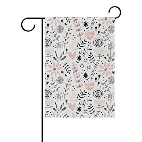 Simple Floral Flowers Love Hearts Garden Flag Flags Yard Banner for Outside House Flower Pot Double Side Print