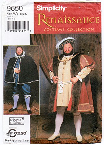 Simplicity 9650 Men's Edwardian Renaissance Doublet Cape and Hat King Henry VIII Costume Sewing Pattern Size S-M-L Chest 43- 51