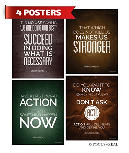 Motivational Quotes Inspirational Happiness Decorative Poster Print by Winston Churchill Gandhi Thomas Jefferson Nietzsche US History You 8 x 10 Inch Set of 4 Stronger