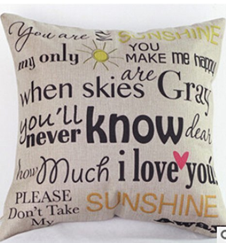 """Price comparison product image Cotton Linen You Are My Sunshine Decorative Pillowcase Throw Pillow Cushion Cover Square 18"""" * 18"""" Home Life"""