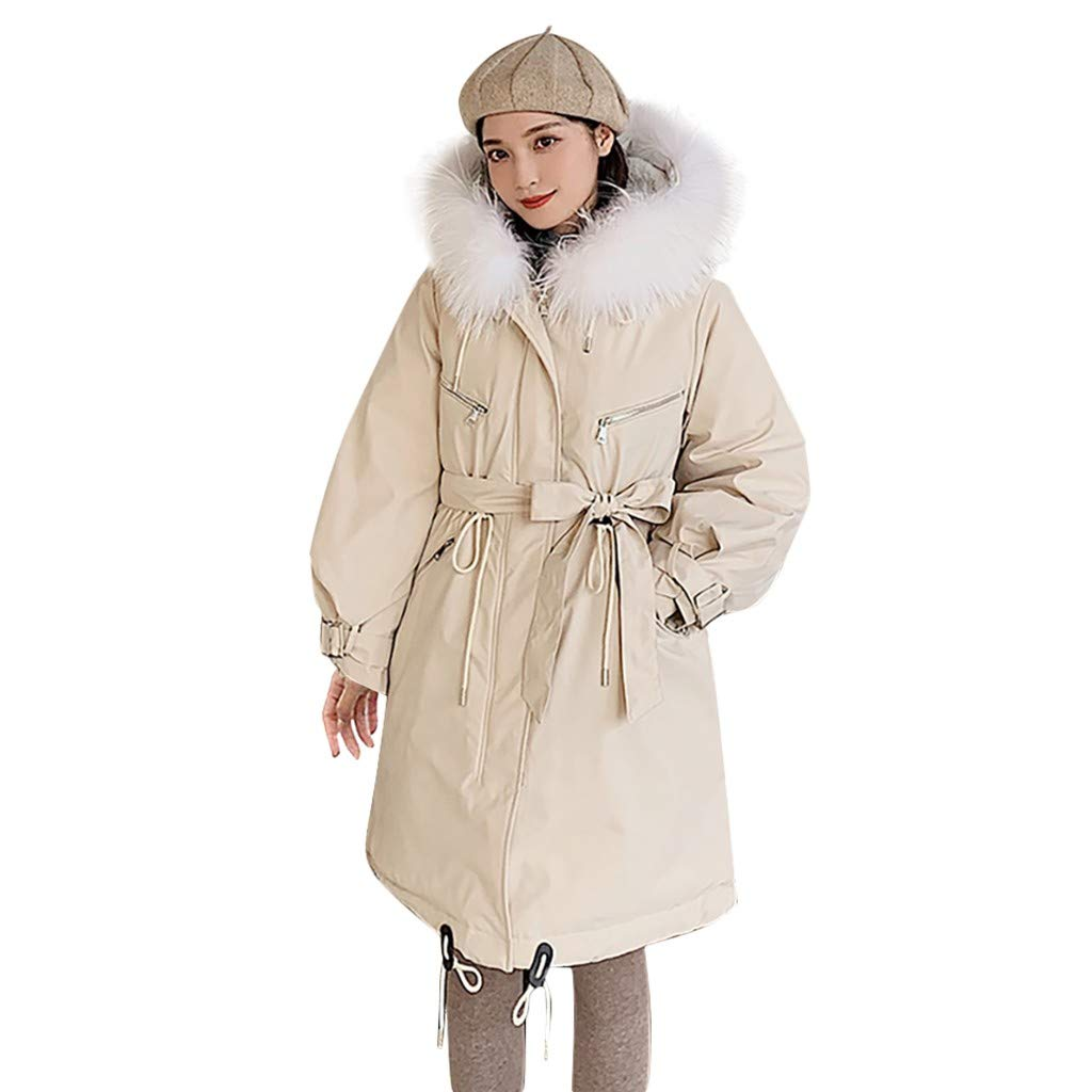 Fashionhe Hooded Overcoat Warm Outerwear Long Sleeve Hooded Jackets Cotton-Padded Pockets Bandage Coats(Beige.3XL) by Fashionhe