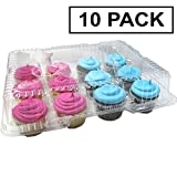 Katgely Disposable Cupcake Box Container - Holds 12 Cupcakes - PBA Free Plastic - Pack of 10