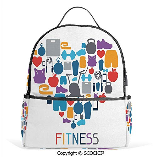 - All Over Printed Backpack Sports and Healthcare Icons Forming a Heart Shape Clean Eating Athletic Training Decorative,Multicolor,For Girls Cute Elementary School Bookbags