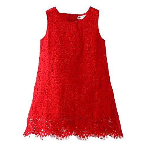 LittleSpring Little Girls' Dress Christmas Sleeveless Size 6(tag140) Red (Red Dresses For Little Girls)