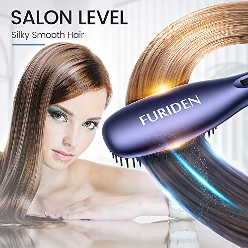 FURIDEN Professional Hair Straightening Brush Straightener, Hair Straightener Brush Ceramic Heating, Hair Straightening Brush Flat Iron