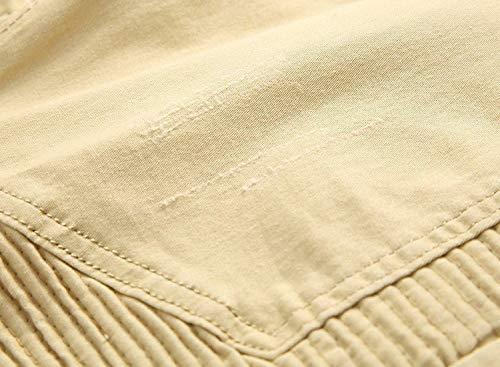 Vintage Vita Metà Khaki Della Moda Cachi Di Pantaloni Etero Stirata Uomini Semplice Stile Moto Jeans Scarni gwpqx1xT