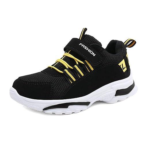 Zapatos Deportivos para niños Zapatillas de Deporte Negras de Moda con Velcro Zapatillas Antideslizantes Casuales, Transpirables y Transpirables: Amazon.es: ...