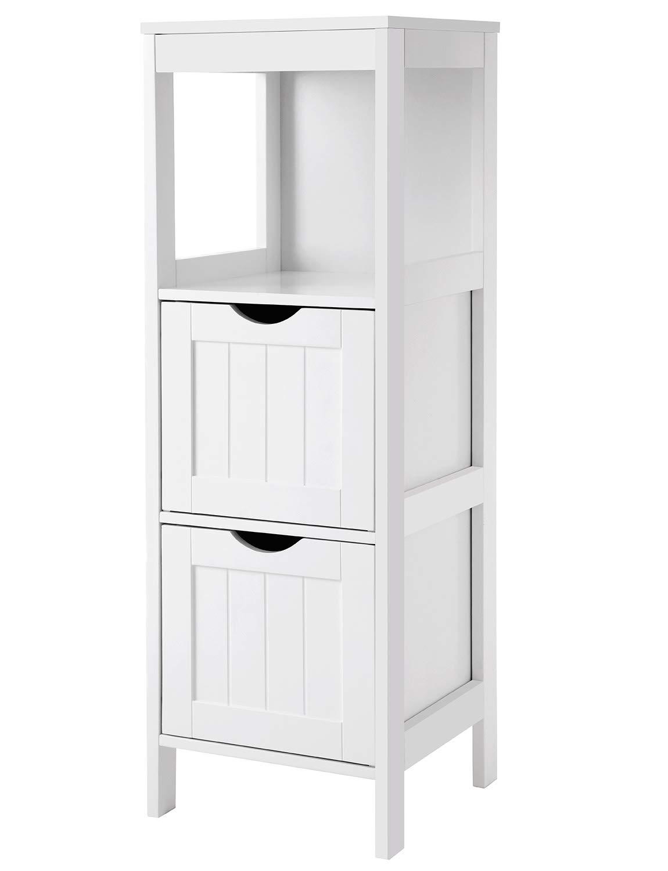 VASAGLE UBBC42WT Floor Cabinet Multifunctional Bathroom Storage Organizer Rack Stand, 2 Drawers, White by VASAGLE