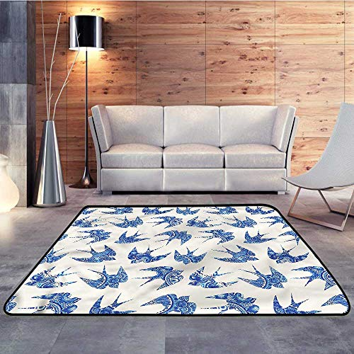 (Camping Rugs for Outside,Animal,Sparrow Birds Antique MosaicW 35