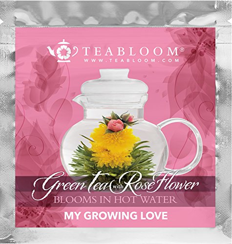 Rose Flowering Tea - Rising Hearts & My Growing Love Blooming Teas – Hand-Tied Flowering Tea Balls - Each Tea Blossom Can Be Used Multiple Times - Deliver Flowers