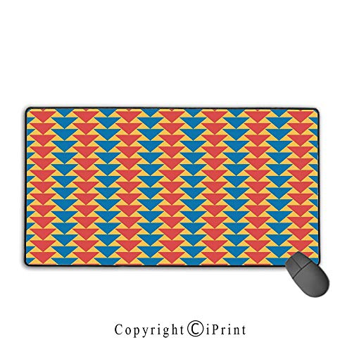 Extended gaming mouse pad with stitched edges,Kids,Triangles Downwards Vertical Geometrical Pattern Shabby Colored Retro Tile,Scarlet Blue Marigold,Ideal for Desk Cover, Computer Keyboard, PC and Lapt - Table Shabby Folding