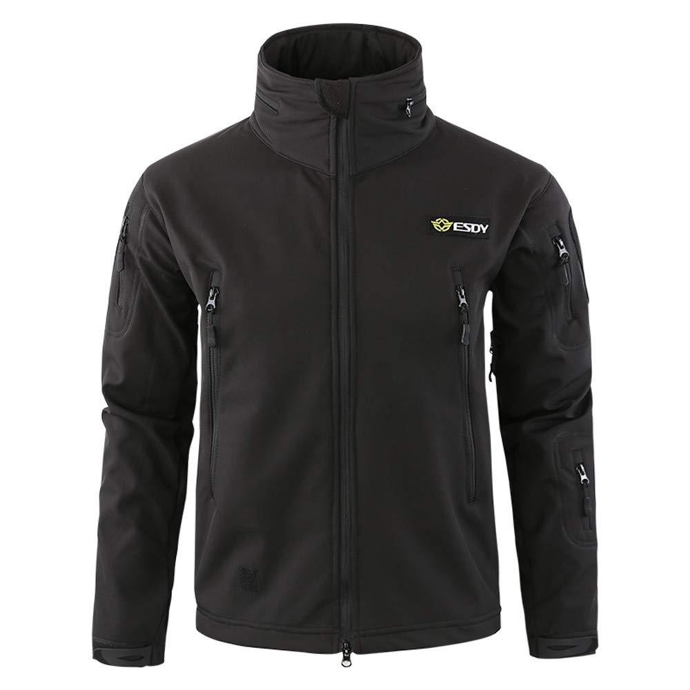 Dacawin Men's Windproof Warm Outdoor Fashion Coat Hooded Jacket Sports Uniform Velvet Overalls (Black, S)