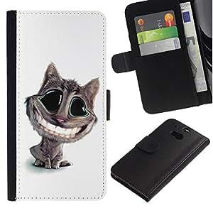 All Phone Most Case / Oferta Especial Cáscara Funda de cuero Monedero Cubierta de proteccion Caso / Wallet Case for HTC One M8 // Funny Lol Big Smile Cat