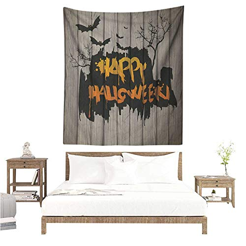 Halloween Tapestry for Living Room Happy Graffiti Style Lettering on Rustic Wooden Fence Scary Evil Holiday Artwork Living Room Background Decorative Painting 60W x 80L INCH -