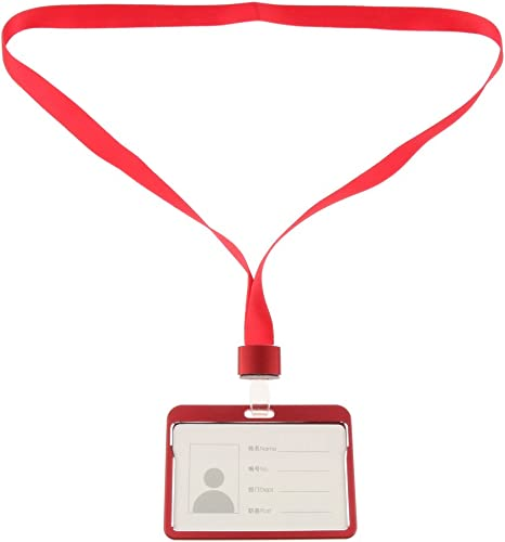 Name Tag Holder Red Heavy Duty Aluminum Alloy Horizontal ID Badge Holder