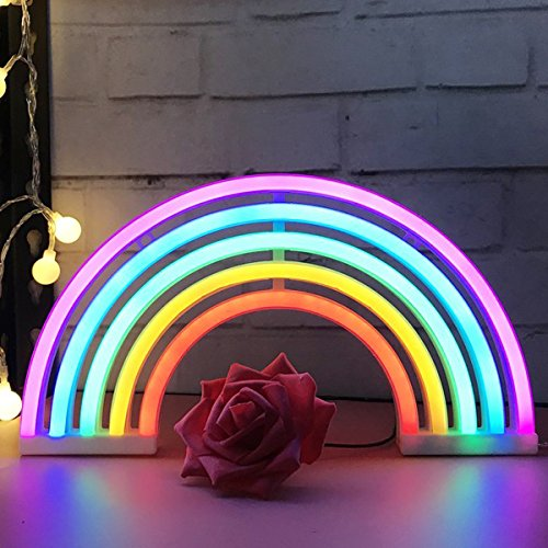 AIZESI Rainbow Neon Light Sign,Rainbow LED Lamp Rainbow Decor Kids Gifts,Battery or USB Operated Table LED Night Lights for Girls Bedroom,Living Room,Christmas,Party,Wall Decorations(Rainbow)]()