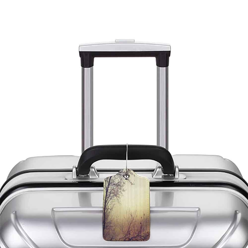Printed luggage tag Nature Vintage Leafless Autumn Tree Branches Background in Saturated Tones Ecology Art Picture Protect personal privacy Sepia W2.7 x L4.6