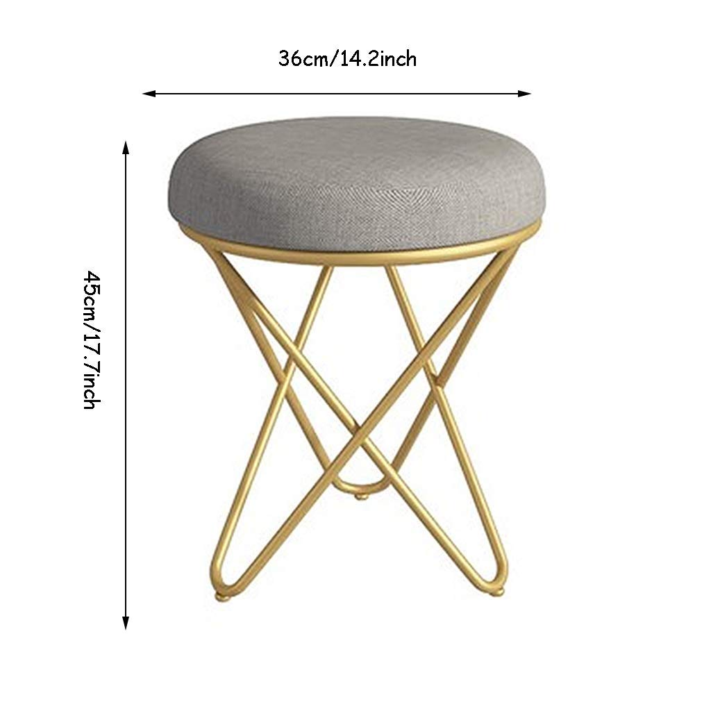 STEP Dressing Stool Creative Piano Chair Stool Bedroom Dressing Table Stool Makeup Stool Shoe Bench Home Small Stool Living Room Coffee Table Stool Color : Gray, Size : 36 * 45cm