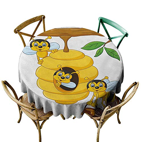 Axbkl Polyester Tablecloth Nursery Branch of Tree with Beehive and Bees Honey Funny Insect Hardworking Mascot for Kitchen Dinning Tabletop Decoration D43 Yellow Brown Green ()