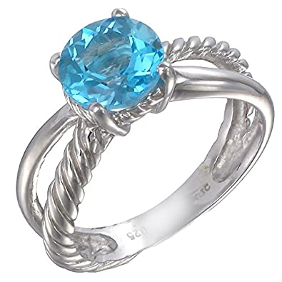 7 MM Round 1.75 CT Swiss Blue Topaz Ring .925 Sterling Silver In Size 9