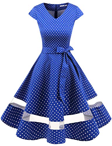 Gardenwed Women's 1950s Rockabilly Cocktail Party Dress Retro Vintage Swing Dress Cap-Sleeve V Neck Royal Blue Small White Dot XS