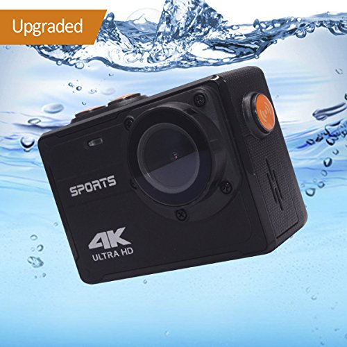 4K Action Camera, Vmotal 16MP WIFI Ultra HD Waterproof DV Camcorder with 150°Degree Wide Angle Lens Underwater Waterproof Sports Camcorder (No Housing Needed,Black) by Vmotal