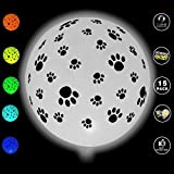 Ecparty LED Light Up White Latex Colors Change Balloons 15 Pack With Black Paw Prints