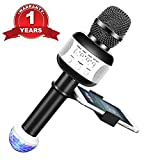 Wireless Bluetooth Karaoke Microphone for Kids Friends Portable KTV Karaoke Machine with Speaker Recording Singing Parties Light Holder Perfect for iphone ipad Android Smartphone (Black)