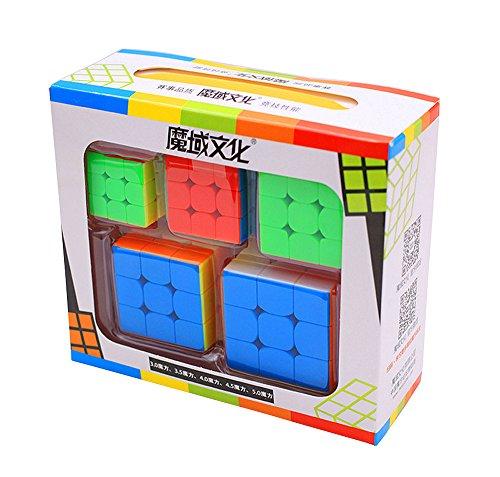 HTFGNC 5PCS MoYu Mofangjiaoshi Speed Magic Cube 3x3x3 Mini Colorful Stickerless Cubes with Key Ring 3 3.5 4 4.5 5 CM