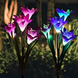 Outdoor Solar Garden Stake Lights - Solar Powered Lights with 8 Lily Flower, Multi-Color Changing LED Solar Stake Lights for Garden, Patio, Backyard (Purple and Red))