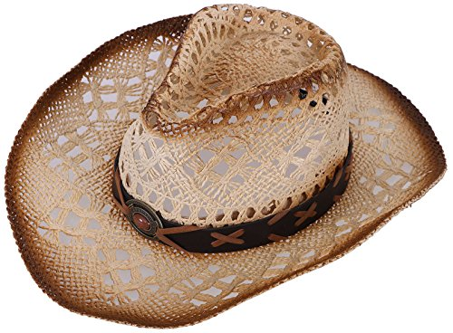 Halconia Mens Straw Weave Western Cowboy Hat Outdoor Wide Brim Hat w/Band Decor