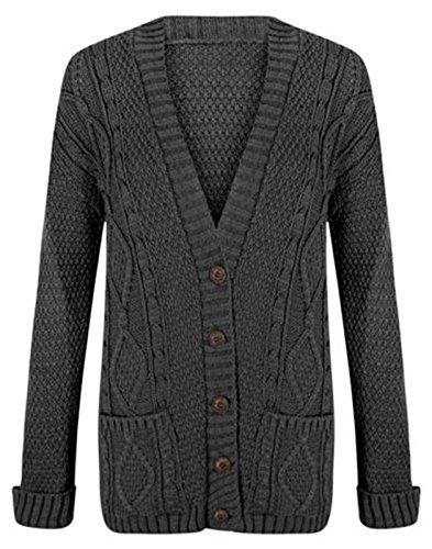 Zara Fashion-Mujeres Grandad Button Chunky novio hecho punto suéter de punto gris oscuro