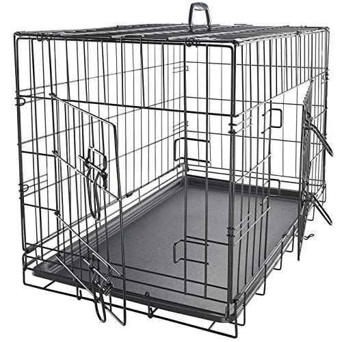 "Dog Crates for Medium Dogs - Dog Crate 30"" Pet Cage Double-Door Best for Big Pets - Wire Metal Kennel Cages with Divider Panel & Tray - in-Door Foldable & Portable for Animal Out-Door Travel"