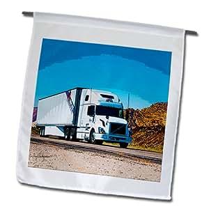 Jos Fauxtographee Trucks - A big truck driving downer the road near Diamond Valley, Utah - 18 x 27 inch Garden Flag (fl_64888_2)