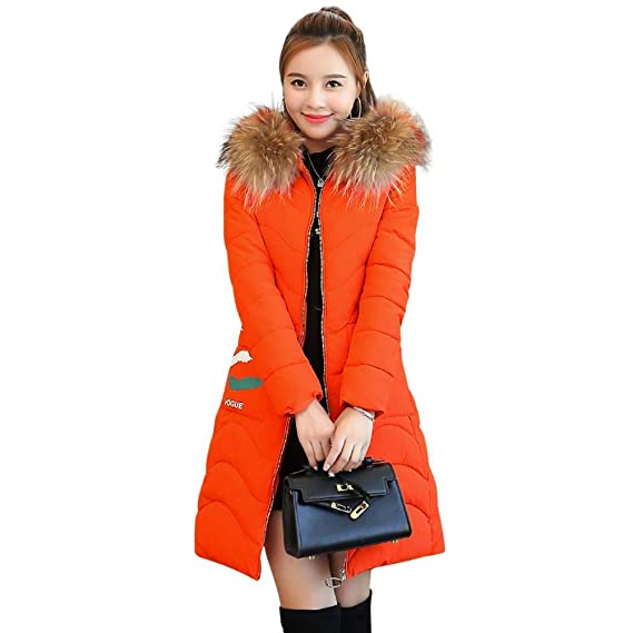 35e039ccc5d Slolvedi Warm Women Long Down Coat Fur Collar Hooded Pockets Slim Thicken  Jacket  Amazon.in  Clothing   Accessories