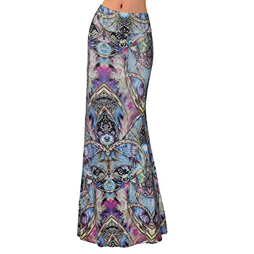 Knit Tiered Skirt (Sherry Skirt Womens High Waist Long Dress Multicolored Fitted Stretch Printed Maxi Skirt (Bohemia,XL))