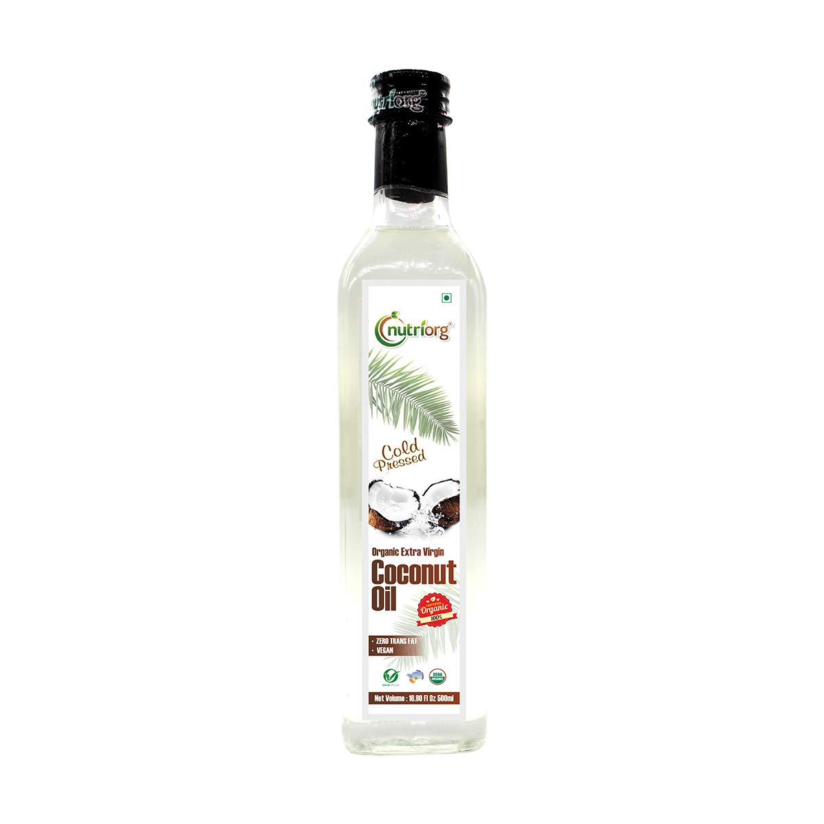 Nutriorg 100% Organic Virgin Coconut Oil   16.9 Fl. Oz   Unrefined Cold Pressed Plant Based Oil   for Cooking, Hair and Skin   Pure USDA Organic Non-GMO
