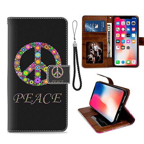 iPhone Xs Max Phone Wallet Case Peace Sign Floral TPU Leather Flip Cover with Card Slot Wallet Case for iPhone Xs Max